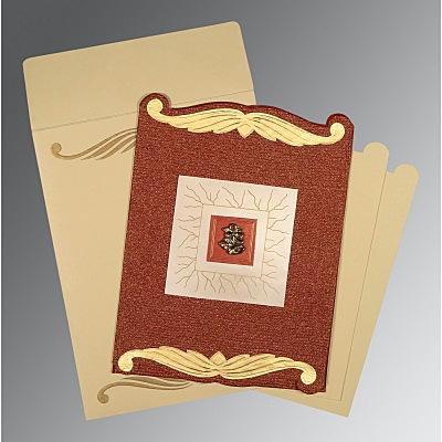 Red Handmade Cotton Embossed Wedding Card : C-1412 - 123WeddingCards