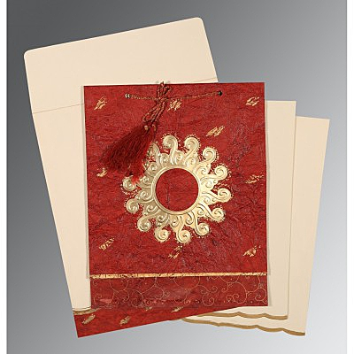 Red Handmade Cotton Embossed Wedding Invitation : D-1264 - 123WeddingCards