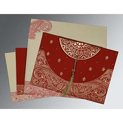 Red Handmade Cotton Embossed Wedding Card : D-8234L - 123WeddingCards