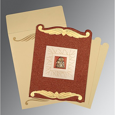 Red Handmade Cotton Embossed Wedding Card : G-1412 - 123WeddingCards