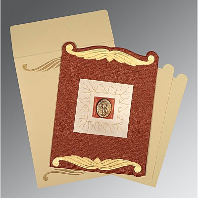 Red Handmade Cotton Embossed Wedding Invitations : I-1412 - 123WeddingCards