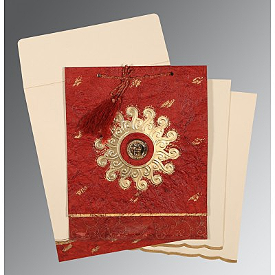 Red Handmade Cotton Embossed Wedding Invitations : RU-1264 - 123WeddingCards