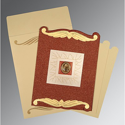 Red Handmade Cotton Embossed Wedding Card : RU-1412 - 123WeddingCards