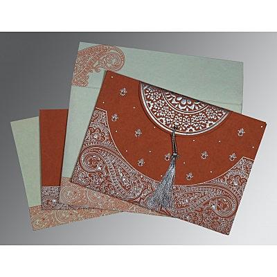 Red Handmade Cotton Embossed Wedding Invitations : S-8234F - 123WeddingCards