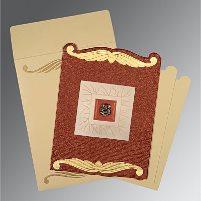 Red Handmade Cotton Embossed Wedding Card : W-1412 - 123WeddingCards
