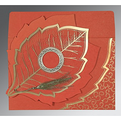 Red Handmade Cotton Floral Themed - Foil Stamped Wedding Invitations : C-8219I - 123WeddingCards