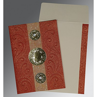 BRICK RED HANDMADE SHIMMER BOX THEMED - EMBOSSED WEDDING CARD : IN-1389 - 123WeddingCards