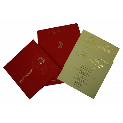 Red Matte Box Themed - Screen Printed Wedding Invitation : I-1838 - 123WeddingCards