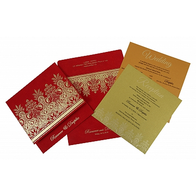 Red Matte Embossed Wedding Invitation : I-1780 - 123WeddingCards