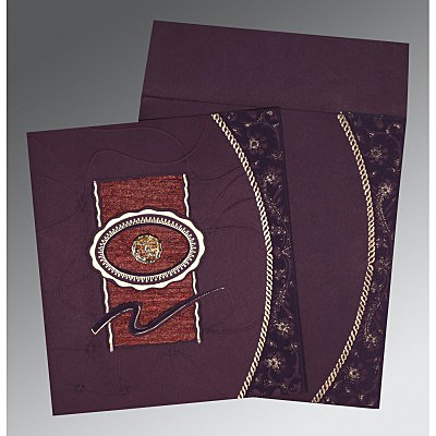 Red Matte Embossed Wedding Invitation : W-1169 - 123WeddingCards