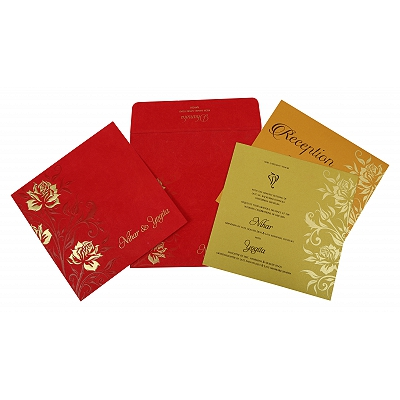 Red Matte Floral Themed - Screen Printed Wedding Invitation : D-1820 - 123WeddingCards