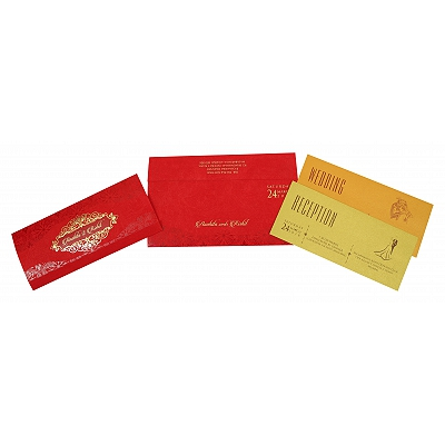 Red Matte Foil Stamped Wedding Invitation : D-1821 - 123WeddingCards