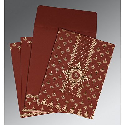 MAROON MATTE SCREEN PRINTED WEDDING INVITATION : IN-8247D - 123WeddingCards
