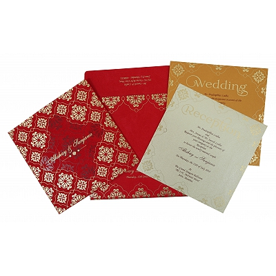 Red Matte Screen Printed Wedding Invitation : RU-1786 - 123WeddingCards