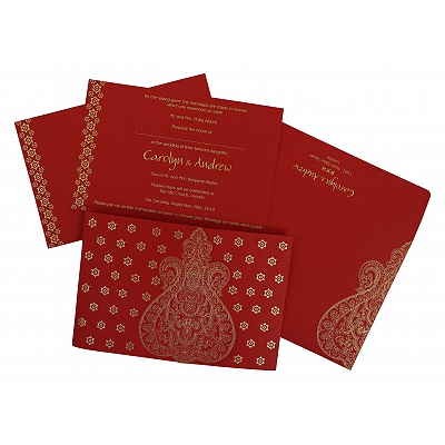 Red Paisley Themed - Screen Printed Wedding Invitation : G-801B - 123WeddingCards