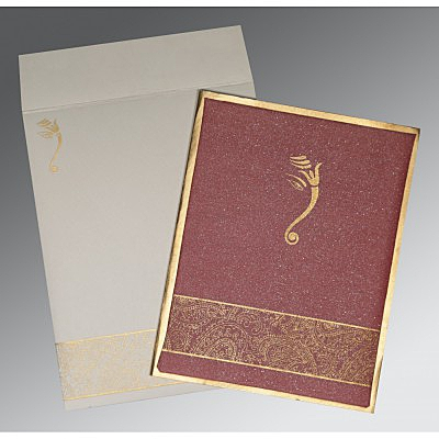 Red Shimmer Wooly Box Themed - Screen Printed Wedding Card : IN-2170 - 123WeddingCards