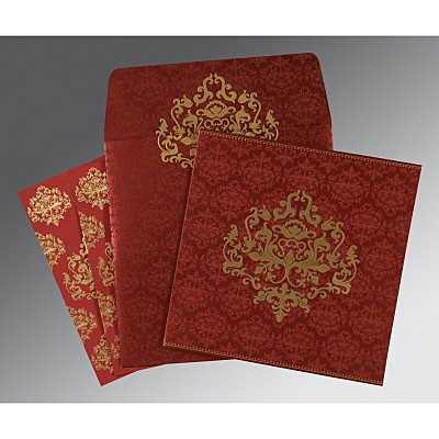 Red Shimmery Damask Themed - Screen Printed Wedding Card : RU-8254B - 123WeddingCards
