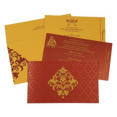 Red Shimmery Damask Themed - Screen Printed Wedding Card : SO-8257D - 123WeddingCards