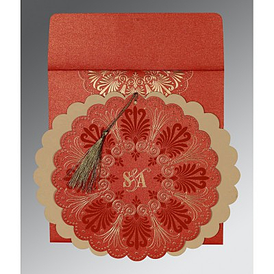 Red Shimmery Floral Themed - Embossed Wedding Card : D-8238I - 123WeddingCards