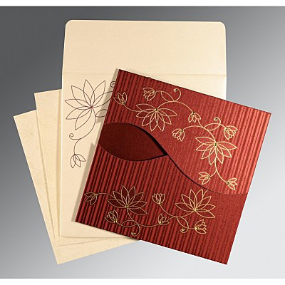 Red Shimmery Floral Themed - Screen Printed Wedding Invitation : RU-8251L - 123WeddingCards