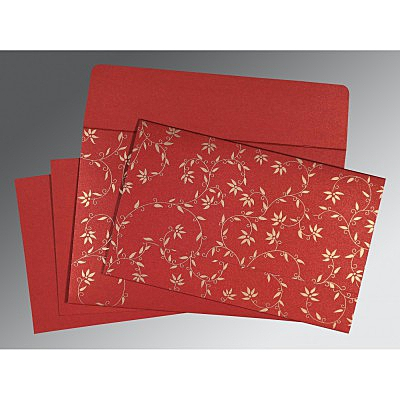 Red Shimmery Floral Themed - Screen Printed Wedding Invitation : SO-8226G - 123WeddingCards