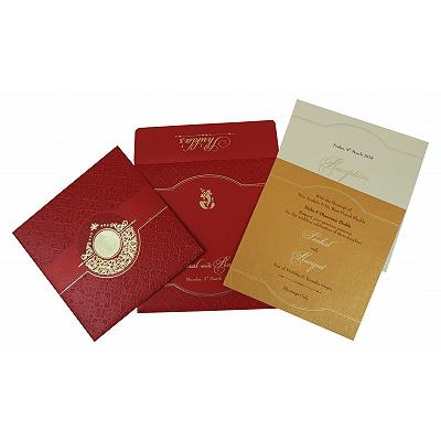 Red Shimmery Foil Stamped Wedding Invitation : D-1784 - 123WeddingCards
