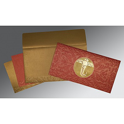 Red Shimmery Foil Stamped Wedding Card : RU-1463 - 123WeddingCards