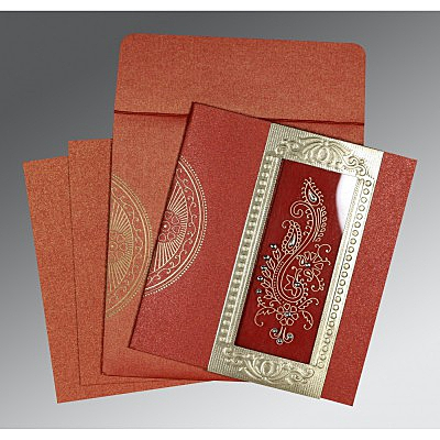 Red Shimmery Paisley Themed - Foil Stamped Wedding Invitations : C-8230N - 123WeddingCards