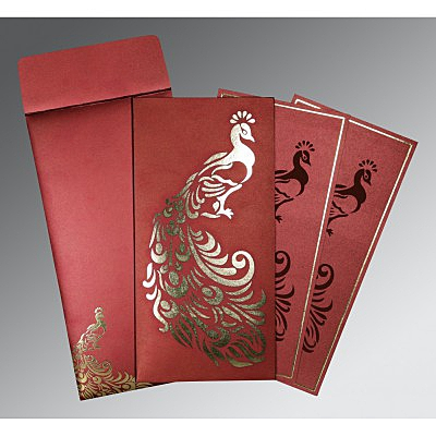 Red Shimmery Peacock Themed - Laser Cut Wedding Invitation : RU-8255A - 123WeddingCards