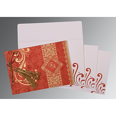 Red Shimmery Screen Printed Wedding Card : C-8223F - 123WeddingCards
