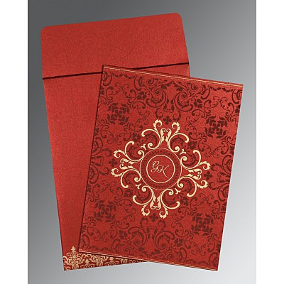 Red Shimmery Screen Printed Wedding Card : W-8244E - 123WeddingCards