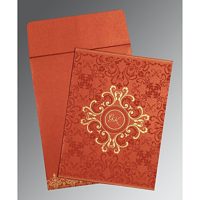Red Shimmery Screen Printed Wedding Card : W-8244L - 123WeddingCards