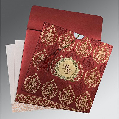 Red Shimmery Unique Themed - Foil Stamped Wedding Card : RU-8249L - 123WeddingCards