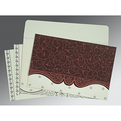 Red Wooly Embossed Wedding Invitations : D-8221P - 123WeddingCards
