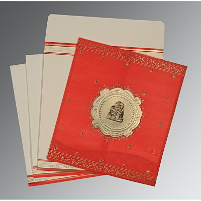 Red Wooly Embossed Wedding Invitation : G-8202H - 123WeddingCards