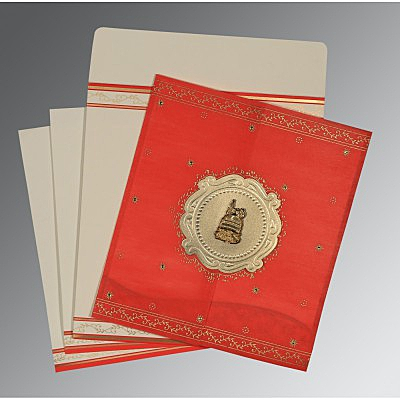 Red Wooly Embossed Wedding Invitation : I-8202H - 123WeddingCards
