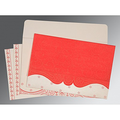 Red Wooly Embossed Wedding Invitation : S-8221J - 123WeddingCards