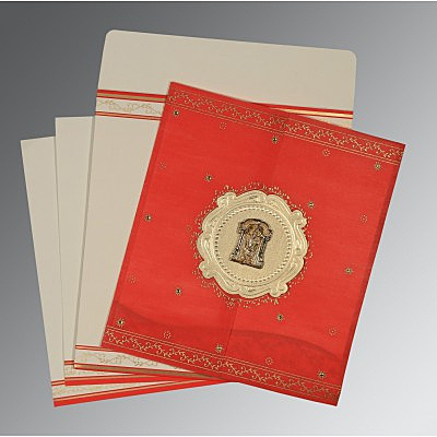 Red Wooly Embossed Wedding Invitations : SO-8202H - 123WeddingCards