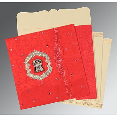 Red Wooly Floral Themed - Embossed Wedding Card : SO-8209I - 123WeddingCards