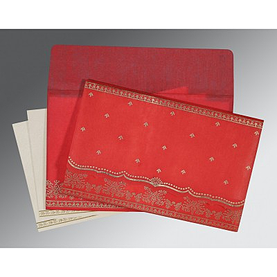 Red Wooly Foil Stamped Wedding Invitations : D-8241Q - 123WeddingCards