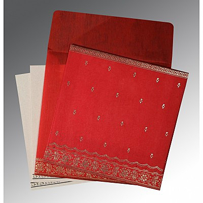 Red Wooly Foil Stamped Wedding Invitations : G-8242A - 123WeddingCards
