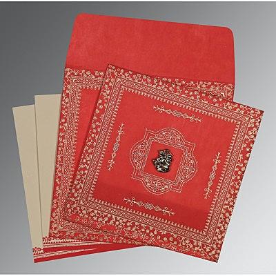 Red Wooly Glitter Wedding Invitations : C-8205R - 123WeddingCards
