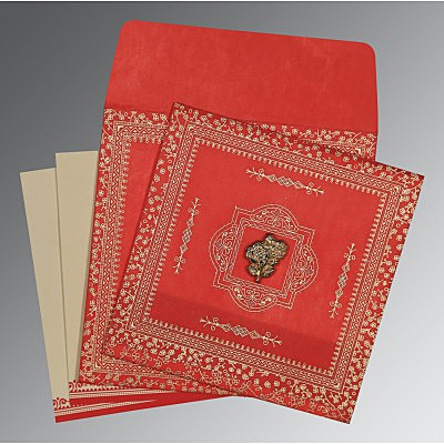 Red Wooly Glitter Wedding Card : I-8205R - 123WeddingCards