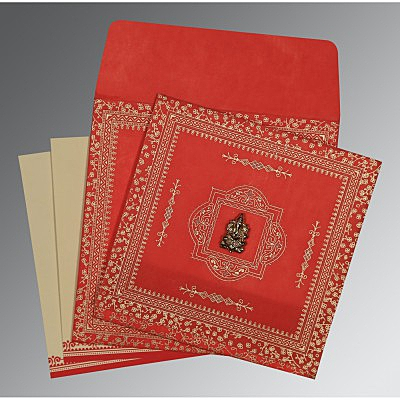 RED WOOLY GLITTER WEDDING CARD : IN-8205R - 123WeddingCards