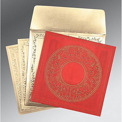 Red Wooly Screen Printed Wedding Card : D-8214G - 123WeddingCards