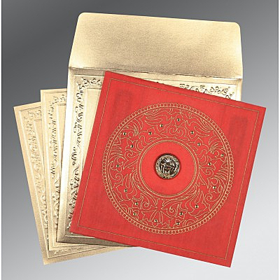 Red Wooly Screen Printed Wedding Invitations : S-8214G - 123WeddingCards