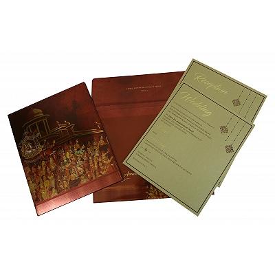 Shimmery Box Themed - Offset Printed Wedding Invitation : W-1835 - 123WeddingCards