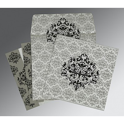 Shimmery Damask Themed - Screen Printed Wedding Card : IN-8254H - 123WeddingCards