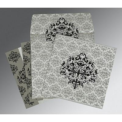 Shimmery Damask Themed - Screen Printed Wedding Invitations : RU-8254H - 123WeddingCards