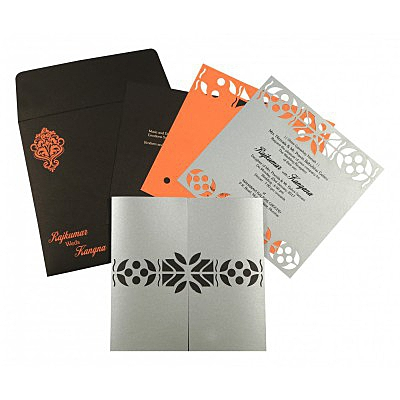 Shimmery Embossed Wedding Invitation : D-8260E - 123WeddingCards
